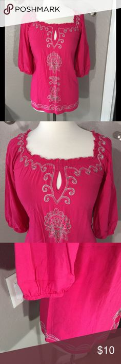 """NY Collection Pink Boho Top Size M Great pre-loved condition. Beautiful embroidery and very soft. 🔅100% rayon 🔅 Bust - 40"""" 🔅 Length - 26"""" 🔅 NY Collection Tops Tunics"""
