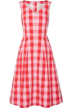 EXCLUSIVE AT NET-A-PORTER.COM. Reese Witherspoon's label Draper James is a celebration of her Southern upbringing and the impeccable style of her grandparents. Made from cotton-poplin, this fit-and-flare dress is patterned with the brand's 'Parton' gingham check in watermelon hues. Sweep your hair up to highlight the open back.