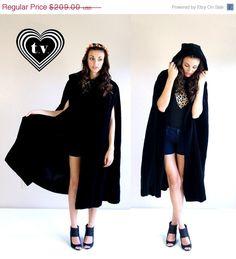 Sale vtg 60s luxe black VELVET HOODED CAPE goth by TigerlilyFrocks, $146.30