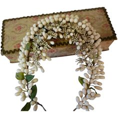 For your delectation this imposing and elaborate century French bride's wax orange blossom wedding crown or tiara in a fresh condition. A delicious handmade confection with milky buds, spiky Wax Flowers, Tiny Flowers, Orange Blossom Wedding, Bridal Crown, Bridal Veils, French Fade, French Wedding, Doll Hair, Wedding Themes