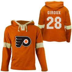 bc74f40c8 Old Time Hockey Claude Giroux Philadelphia Flyers Grant Lace Alum Name    Number Pullover Hoodie - Orange