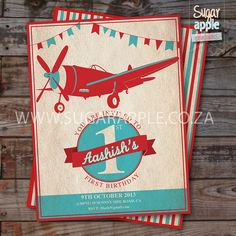 Vintage aeroplane party printable invite by SugarApplePrints, $15.00
