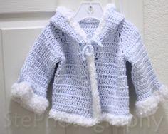 3-6 Month Baby Blue Cloud Sweater (Crochet)