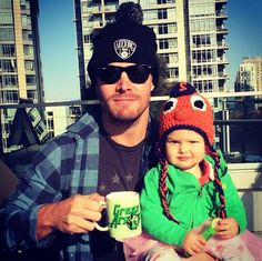 Pin for Later: Stephen Amell's Family Photos Will Make You Love Him Even More  In April 2015, he posed with his little girl for an adorable snap on Easter.