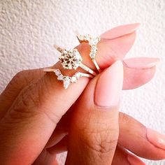 I like the idea of a set that stacks together like this. These are super pretty. gold diamond anna sheffield rings with tiara stacking bands