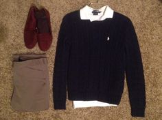 Fall Work: Ralph Lauren skinny white polo and navy cable knit sweater, Gap maroon loafers, Banana Republic heathered-rye pants