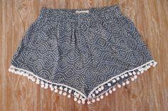 Pom Pom Shorts - Navy and White Dot Pattern - Gym/Beach Shorts