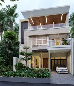 Architectural design is a concept that focuses on components Modern Exterior House Designs, Cool House Designs, Modern House Design, 3 Storey House Design, House Front Design, Style Villa, Residential Building Design, Indian Home Design, House Elevation