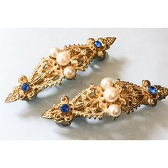 Hair Barrettes, Pearl, Blue Rhinestone, Victorian Revival Women's... ($33) ❤ liked on Polyvore featuring accessories and hair accessories