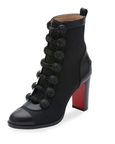 X3CEP Christian Louboutin Who Dances Button 85mm Red Sole Bootie, Black