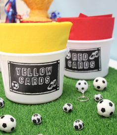 Throwing a football party? Download and print our free football printables to turn your napkins into red and yellow cards! An easy football party idea.