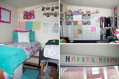 College dorm room at the University of Oregon: Bed, closet, decorations
