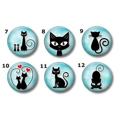 Cute Kitties magnets or pins - Choose your own set of Kitty buttons, refrigerator magnets, fridge magnets, office magnets Halloween Painting, Halloween Cat, The Arrow, Keychain Images, Kitty Images, Rock Painting Designs, Cat Silhouette, Cat Pin, Photo Magnets