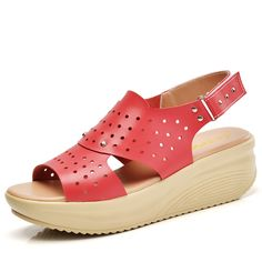 Sale 30% (29.18$) - SOCOFY Women Shake Sandals Soft Leather Wedges Hollow Out Nail Sandals