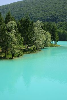 Turquoise water...Lake Barcis, northern Italy.