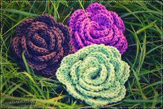 bandorka: Růže Crochet Flowers, Free Pattern, Rose, Floral, Home Decor, Petra, Pink, Decoration Home, Room Decor
