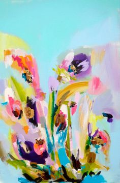 Large Abstract Art Painting Floral Flowers by susanskelleyart Sold