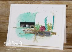 A fun sneak peek of the Oh So Succulent stamp set from Stampin Up! See how I created a terrarium using Oh So Succulent stamp and Everyday Jar Framelits. Birthday Drinks, Birthday Cards, Happy Birthday, Simple Collage, Cactus, Love Stamps, Beautiful Handmade Cards, Card Tags, Stamping Up