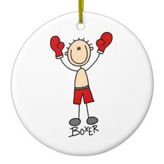 Stick Figure Boxer T-shirts and Gifts Christmas Ornament