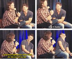 """[SET OF GIFS] """"Does Thomas have a favorite lullaby?""""  Jensen and Jared convention panel #DallasCon2012"""