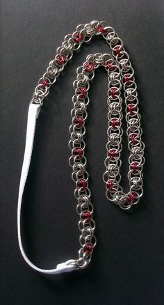 Chainmaille Hair Band.  Steel with Red. by DeChampDesigns on Etsy, $22.00