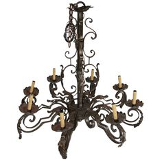 Early French Iron Chandelier