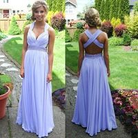 Light Purple V-Neck Long Prom Dresses 2016 With Pleat A-Line Sleeveless Criss Cross Backless vestido de festa vestido de noiva