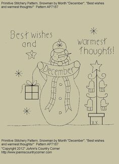 "Primitive Stitchery E-Pattern Snowman by Month ""December"",  ""Best wishes and warmest thoughts."""