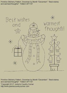 Primitive Stitchery EPattern Snowman by by JoAnnCountryCorner, $2.00