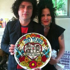 A custom anniversary plate I painted for Billie Joe Armstrong and his wife Adrienne.  #GreenDay #handpainted #sewzinski #custom. www.Sewzinski.com