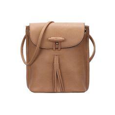 SheIn(sheinside) Khaki Tassel PU Satchel Bag ($15) ❤ liked on Polyvore featuring women's fashion, bags, handbags, khaki, khaki handbag, satchel hand bags, satchel bag, satchel handbags and satchel purse