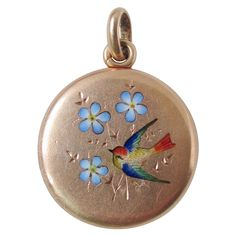 14k Solid Gold French Enamel Bird & Flower Antique Victorian Locket Pendant Charm