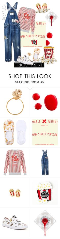 """popcorn style....#trickytrend #overalls"" by fashionlibra84 ❤ liked on Polyvore featuring Glenda López, Free Press, Filles à papa, Chicnova Fashion, Junk Food Clothing, Keds, TrickyTrend and overalls"