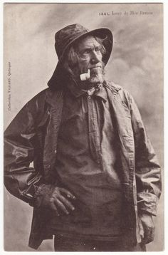 French postcard - Fisherman with beard smoking a pipe - Loup de Mer Breton - Antique edwardian postcard - Victorian - 1910s - K13. $4,95, via Etsy.