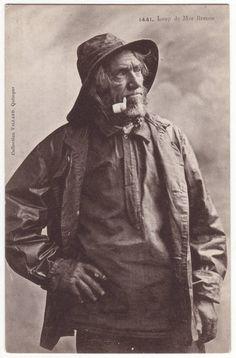 French postcard - Fisherman with beard smoking a pipe - Loup de Mer Breton - Antique edwardian postcard - Victorian - 1910s - K13. $4,95, via Etsy.