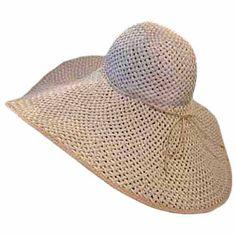 "Tan White 8"" Wide Large Brim Straw Beach Sun Floppy Hat"