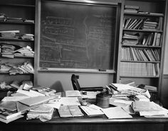 Photo of Albert Einstein's office, taken the day he died