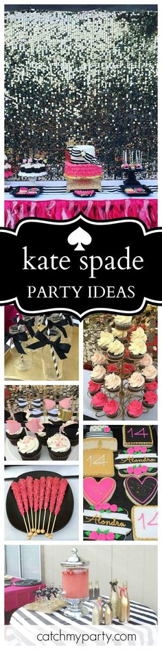 Trendy birthday party ideas for adults bridal shower Kate Spade Party, Kate Spade Bridal, Kate Spade Cake, 18th Birthday Party Themes, Adult Birthday Party, Mom Birthday, Birthday Ideas, Birthday Decorations, Birthday Cakes