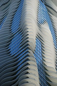 detail of aqua building in chicago