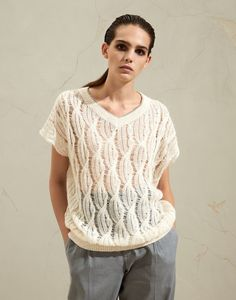 Cable Knitting, Cable Knit Sweaters, Pull Mohair, Mohair Sweater, Brunello Cucinelli, Online Boutiques, Silk Top, Bellisima, Crochet Top