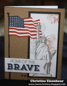 """I got my new patriotic stamp sets in this week and sat down to make some cards. I really like the """"Home of the Brave"""" stamp set--this is a ..."""