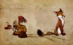 Guess what i watched yesterday! I watched Godzilla, of course! Wanted to watch Wall E for a long time now - I think i never found a rob. Wall-E Wall E, Fuchs Illustration, Fuchs Tattoo, Artist Wall, Atc Cards, Fox Art, Illustrations And Posters, Furry Art, Deviantart