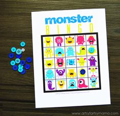 Free Printable Monster Bingo at artsyfartsymama.com