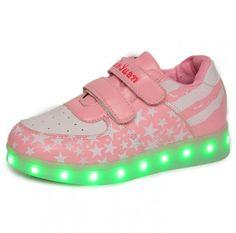 Pink Kids Luminous Shoes USA Flag