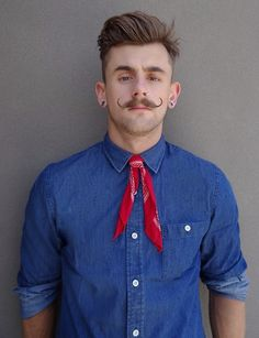 denim shirt by Spencer Project & bandana as a tie