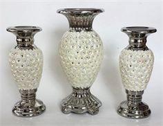 3lü Gümüş Papatyalı Şamdanlı Vazo set