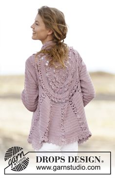 "Casaco rendado DROPS crochetado em redondo, em ""Cotton Viscose"". Do S ao XXXL. ~ DROPS Design"