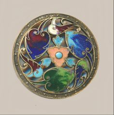 Large Art Nouveau Leaf Triad in Openwork Brass of Champleve Enamel Button ~ R C Larner Buttons at eBay Etsy http://stores.ebay.com/RC-LARNER-BUTTONS and https://www.etsy.com/shop/rclarner