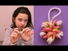 Como hacer flor de gomitas para pulseras. Rainbow loom flower charm - YouTube