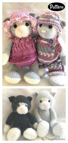 Knitted Stuffed Animals, Stuffed Animal Cat, Knitted Animals, Sleepy Kitten, Pet Toys, Cats And Kittens, Fur Babies, Knitting Patterns, Knit Crochet
